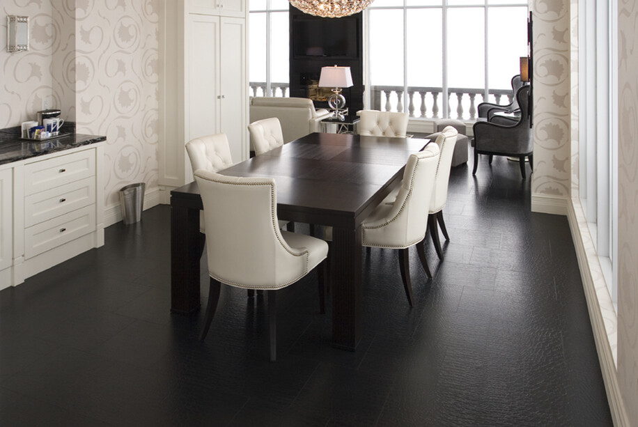 Leather flooring installed into dining room.
