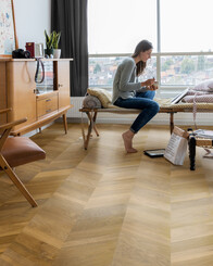 Smoked Mountain Oak Extra Matt  - Intenso Chevron Wood Flooring